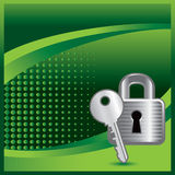 Green halftone banner with lock and key Royalty Free Stock Photography