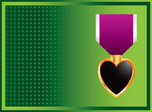 Green halftone banner with military medal Stock Image