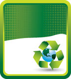 Green halftone banner recycle symbol around earth Stock Image