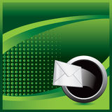 Green halftone banner with shooting email Royalty Free Stock Images