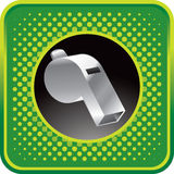 Green halftone web button with silver whistle Stock Photo