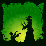 Green Halloween background with zombie and witch royalty free illustration