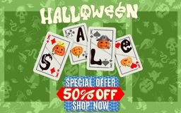 Green Halloween discount poster with playing cards vector illustration