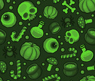 Green Halloween Seamless Pattern Background with Spider, Skull, Pumpkin, Candy, Bones and Eye Stock Photography