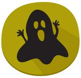Halloween sticker with spooky ghost. Green halloween sticker or icon with haunted ghost. Halloween theme clean design Royalty Free Stock Image