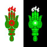 Green hamsa hand styled into the shape of a torch Stock Photography