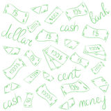 Green Hand Drawn Banknotes. Doodle Money Rain. Scribble Drawings of Cash. Sketch Style. Stock Photo