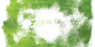 Green hand-drawn banner - eco background Stock Image