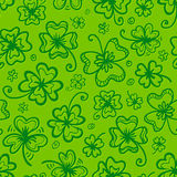 Green hand drawn clovers seamless pattern Stock Photo
