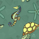 Green hand drawn seamless sea pattern Royalty Free Stock Image