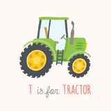 Green hand drawn tractor. ABC Kids Wall Art. Toy Alphabet Card. Nursery alphabet poster wall art. Playroom decor. T is for Tractor. Green hand drawn tractor Stock Photos