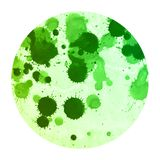 Green hand drawn watercolor circular frame background texture with stains. Modern design element royalty free stock photo