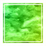 Green hand drawn watercolor rectangular frame background texture with stains. Modern design element vector illustration