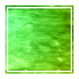 Green hand drawn watercolor rectangular frame background texture with stains. Modern design element royalty free stock photos