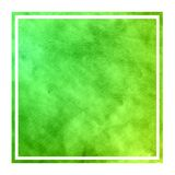 Green hand drawn watercolor rectangular frame background texture with stains. Modern design element stock images