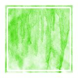 Green hand drawn watercolor rectangular frame background texture with stains. Modern design element royalty free stock image