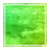 Green hand drawn watercolor rectangular frame background texture with stains. Modern design element stock image