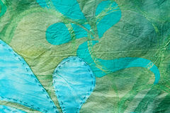 Green Hand-dyed and Sewn Floral Texture Royalty Free Stock Photo