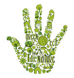 Green hand with environmental icons Stock Image