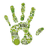 Green hand with environmental icons Royalty Free Stock Photography