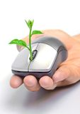 Green it. Hand holding a tree growing on a mouse / green it stock photos