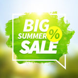 Green hand paint big summer sale on blurred background. Royalty Free Stock Photo