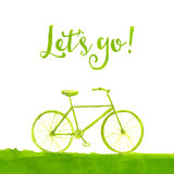 Green hand painted bicycle with text let's go stock illustration