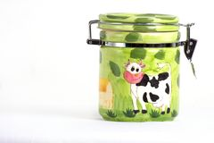 Green hand painted jar  on white background Stock Photos