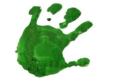 Green hand print Royalty Free Stock Photography