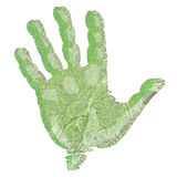 Green hand print. Illustration of a green hand print on a white background Stock Image