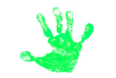 Green Hand Print. Little Child or Baby Green Hand Print Stock Photo