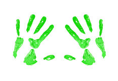 Green Hand Print. A green hand print on a white canvas Stock Photography