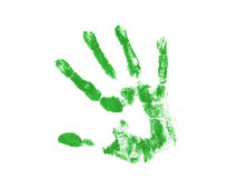 Green hand print. Isolated over white background Stock Photo