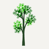 Green hand print tree illustration for nature help Stock Images