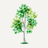 Green hand print tree symbol for environment care Stock Images
