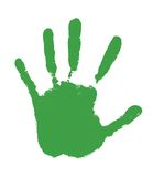 Green hand print. A green hand print on white background Royalty Free Stock Photos