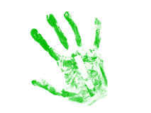 Green hand print with white exclamation mark Royalty Free Stock Photography