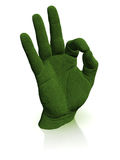 Green hand shows ok sign Royalty Free Stock Photo