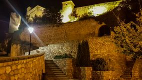 Night view of Alquezar Castle in Spain stock photography