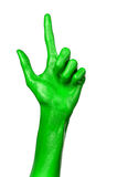 Green hand on white background, isolated, paint Royalty Free Stock Photos