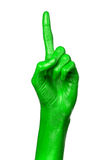 Green hand on white background, isolated, paint Royalty Free Stock Images