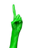 Green hand on white background, isolated, paint Stock Photo