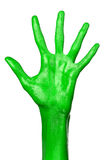Green hand on white background, isolated, paint Stock Photos