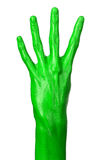 Green hand on white background, isolated, paint Stock Images