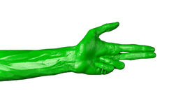Green hand on white background, isolated, paint Royalty Free Stock Photo