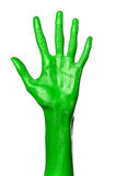 Green hand on white background, isolated, paint Royalty Free Stock Photography