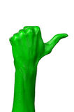 Green hand on white background, isolated, paint Royalty Free Stock Image