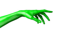 Green hand on white background, isolated, paint Stock Photography