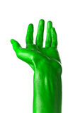 Green hand on white background, isolated, paint Stock Image