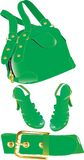 Green handbag ,belt and shoes Royalty Free Stock Images